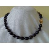 Perlový náhrdelník jezerní černé perly 19mm EC004