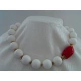 Náhrdelník bílý a červený korál YY114