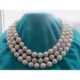 Perlový náhrdelník obláčkové jezerní bílé platinové perly 12mm OP002