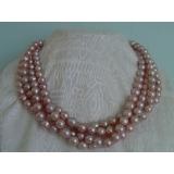 Perlový náhrdelník pravé levandulové jezerní perly 10mm NB042
