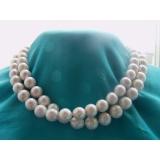 Perlový náhrdelník obláčkové jezerní bílé platinové perly 12mm OP005
