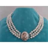 Perlový náhrdelník jezerní bílé perly 8mm YY112