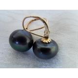 Náušnice černé jezerní perly 12mm EB018