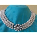 Perlový náhrdelník pravé bílé jezerní perly 10mm, 3řady NB071
