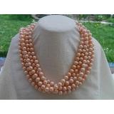 Perlový náhrdelník růžové jezerní perly 9mm, 250cm NB002