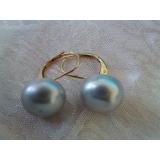 Náušnice šedé jezerní perly 12mm EB019