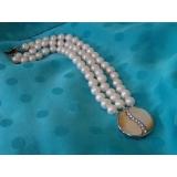Perlový náramek pravé bílé jezerní perly 10mm, 3řady B347