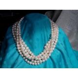 Perlový náhrdelník pravé bílé jezerní perly 9mm NB001