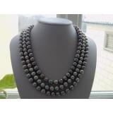 Perlový náhrdelník pravé šedé jezerní perly 10mm, 3řady NB024