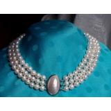 Perlový náhrdelník pravé jezerní perly 10mm + mabe 3řady NB022