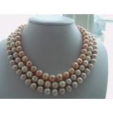 Perlový náhrdelník jezerní růžové, levandulové a bílé jezerní perly 11mm NB059