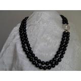 Perlový náhrdelník černé jezerní perly 12mm + perla mabe, 2řady N2183