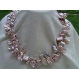 Perlový náhrdelník pravé levandulové jezerní reborn keshi perly N1853