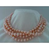 Perlový náhrdelník jezerní růžové perly 9mm EC015