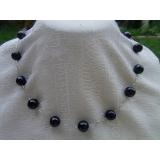 Perlový náhrdelník pravé černé jezerní perly 9mm NB029
