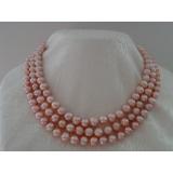 Perlový náhrdelník jezerní růžové perly 9mm EC013