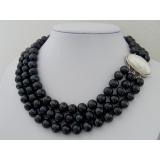 Perlový náhrdelník černé jezerní perly 10mm, 3 řady NB063