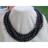 Perlový náhrdelník černé jezerní perly 9mm, 250cm NB005