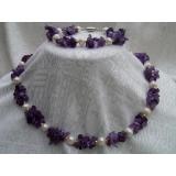 Perlový náhrdelník a náramek bílé jezerní perly a ametyst N2758