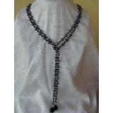 Perlový náhrdelník pravé jezerní perly + černý achát YY006