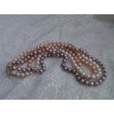 Perlový náhrdelník jezerní bílé, růžové a levandulové jezerní perly EC005