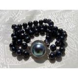 Perlový náramek pravé černé perly 10mm B32