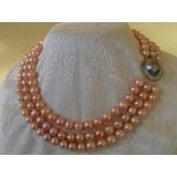 Perlový náhrdelník pravé růžové jezerní perly 10mm+mabe  N596
