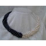 Perlový náhrdelník černé a bílé jezerní perly, 6řad NB020