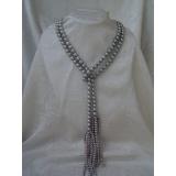 Perlový náhrdelník pravé šedé jezerní perly 10mm, 140cm NB027
