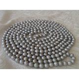 Perlový náhrdelník pravé šedostříbrné jezerní perly 9mm, 250cm NB004