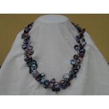 Perlový náhrdelník černé jezerní perly Reborn Keshi 11mm, 2řady N1230