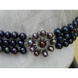 Perlový náhrdelník pravé černé jezerní perly 10mm, 3řady NB010