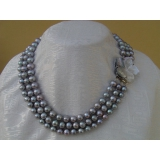 Perlový náhrdelník šedé jezerní perly 9mm, 3řady NB046