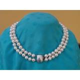 Perlový náhrdelník pravé bílé jezerní perly 10mm, 2řady N990