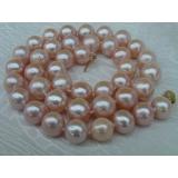 Perlový náhrdelník pravé růžové jezerní perly 11mm N1637
