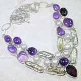 Perlový náhrdelník jezerní perly, ametyst a křišťál JW008z