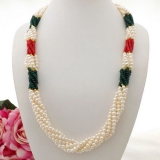 Perlový náhrdelník jezerní bílé perly, korál a křišťál YY221