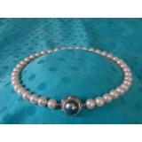 Perlový náhrdelník pravé bílé jezerní perly 12mm + mabe NB113