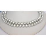 Perlový náhrdelník šedé jezerní perly 10mm, 2řady N1284