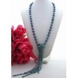 Perlový náhrdelník jezerní černé perly a křišťál YY096