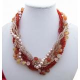 Perlový náhrdelník jezerní růžové perly, karneol a křišťál YY103
