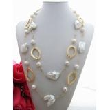 Perlový náhrdelník bílé jezerní obláčkové a reborn keshi perly YY100