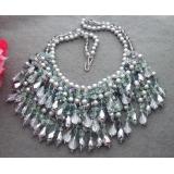 Perlový náhrdelník šedé mořské perly, fluorit a křišťál YY105