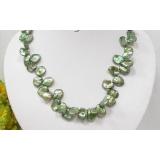 Perlový náhrdelník pravé zelené jezerní perly reborn keshi 15mm N1901
