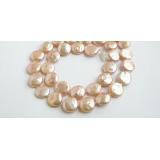 Perlový náhrdelník pravé jezerní růžové coin perly 12mm N459