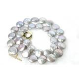 Perlový náhrdelník pravé jezerní šedostříbrné perly 12mm N48