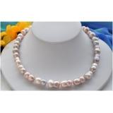 Perlový náhrdelník jezerní levandulové perly dvojčata 17mm NB207