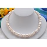 Perlový náhrdelník jezerní bílé perly dvojčata 17mm NB208