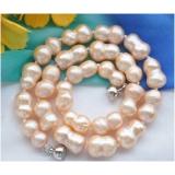 Perlový náhrdelník jezerní růžové perly dvojčata 17mm NB209