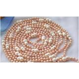 Perlový náhrdelník jezerní růžové perly dvojčata 14mm NB210